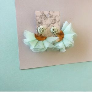 Handmade Mint Statement Earrings NWT